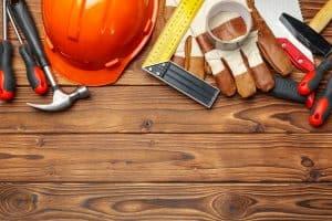 רקע של כלים של עובדי בניין